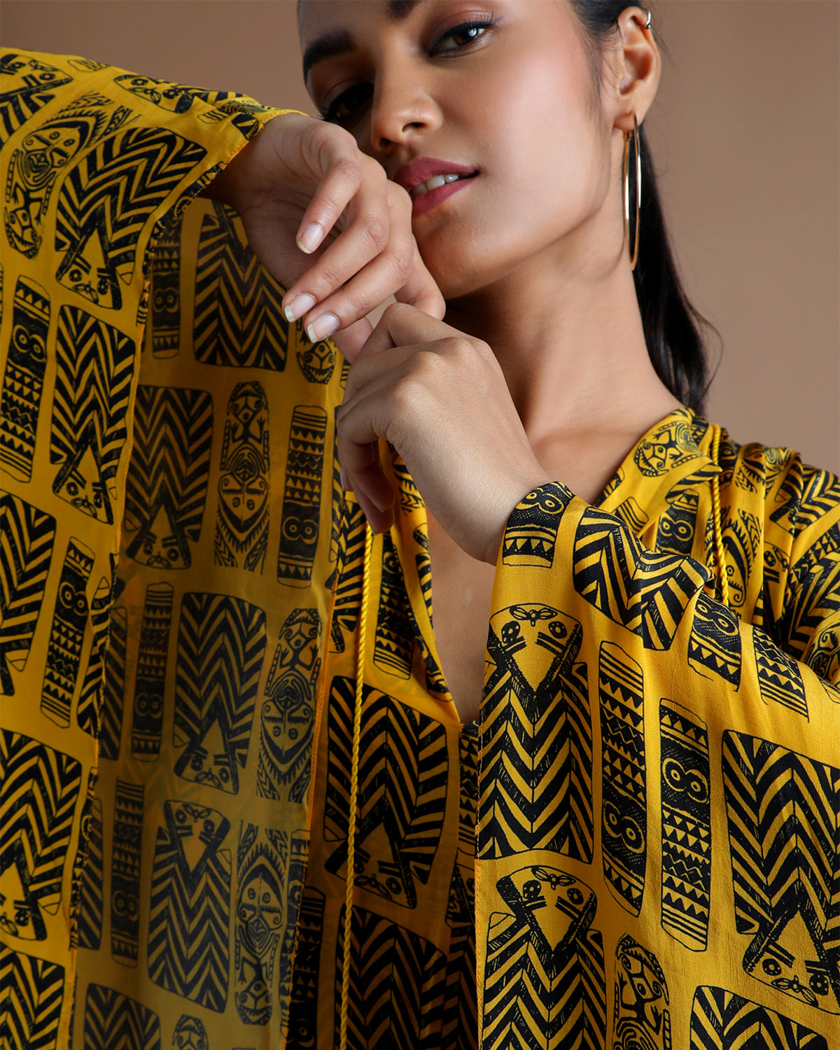 yellow and black printed kaftan