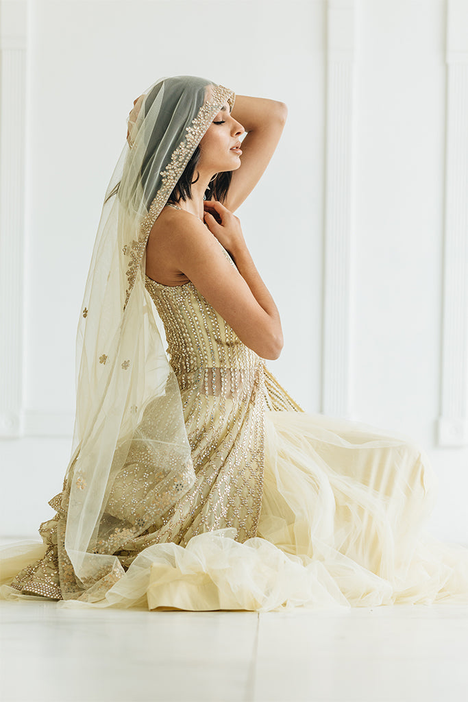 Hi-low Net Cream Bridal Lehenga