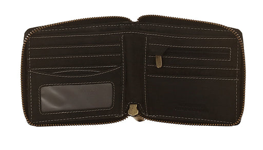 Woodbridge Mens Distressed RFID Oiled Black Leather Zip Around Wallet - NC4046 Black-Woodbridge-Maxwell Hamilton