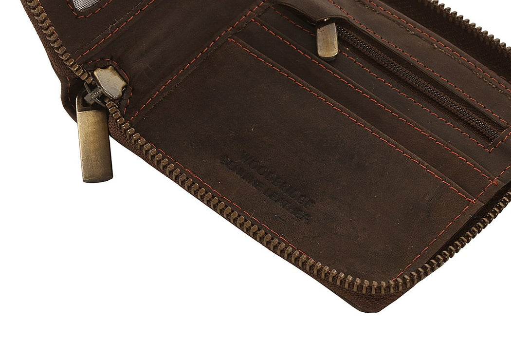 Woodbridge Mens Distressed RFID Oiled Brown Leather Zip Around Wallet - NC4046 Brown-Woodbridge-Maxwell Hamilton