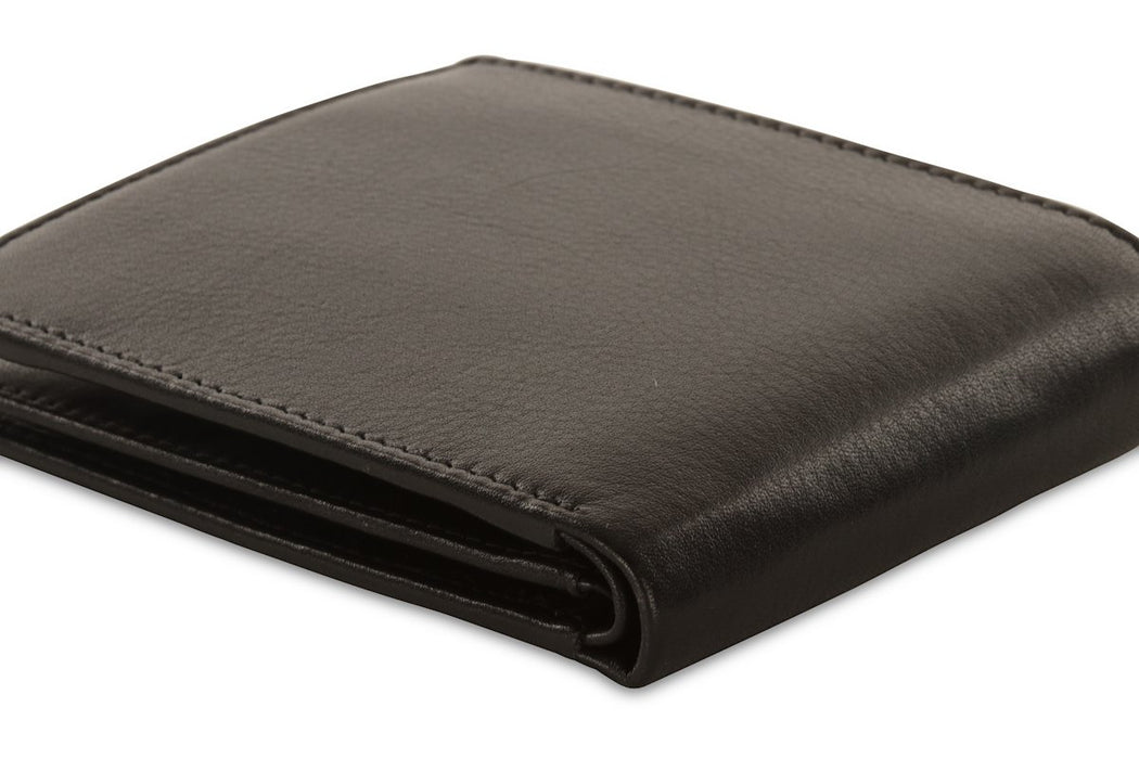 Redbrick Mens RFID Luxury Leather Black Bifold Cards & Coins Wallet - RBWC0014 Black-Redbrick-Maxwell Hamilton