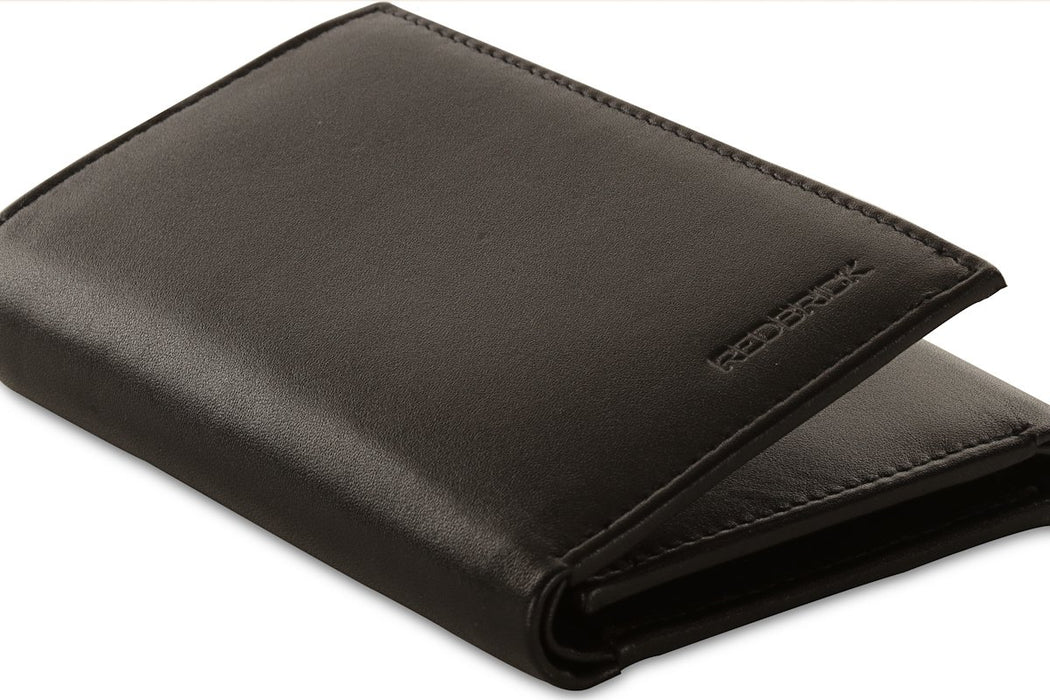 Redbrick Mens RFID Luxury Leather Black Trifold Wallet For Credit Cards - RBWC0002 Black-Redbrick-Maxwell Hamilton