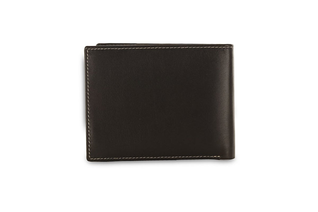 Redbrick Mens RFID Luxury Leather Black Bifold Cards Coins & ID Wallet - RBWC0017 Black-Redbrick-Maxwell Hamilton