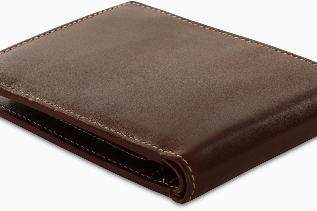 Redbrick Mens RFID LuxuryLeather Brown Bifold Cards Coins & ID Wallet - RBWC0017 Brown-Redbrick-Maxwell Hamilton