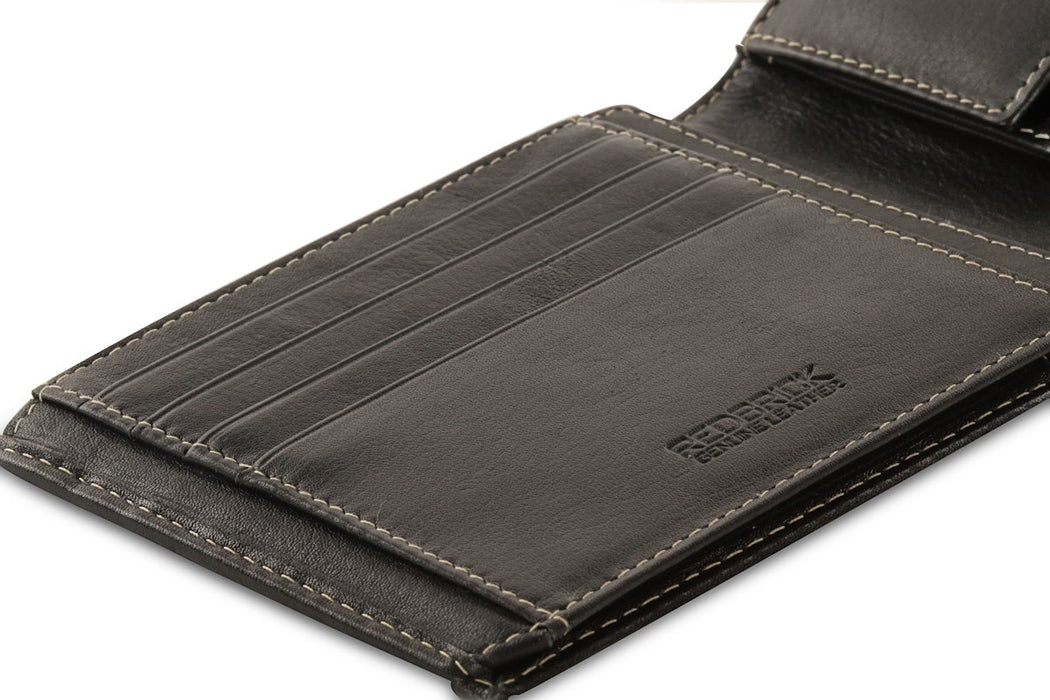 Redbrick Mens Luxury Leather Black Bifold Credit Cards & Coins Wallet - RBWC0020 Black-Redbrick-Maxwell Hamilton