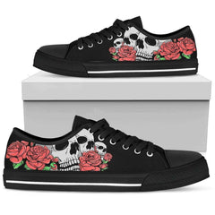 Women Skulls and Roses Low top Shoe - OnlineGearz