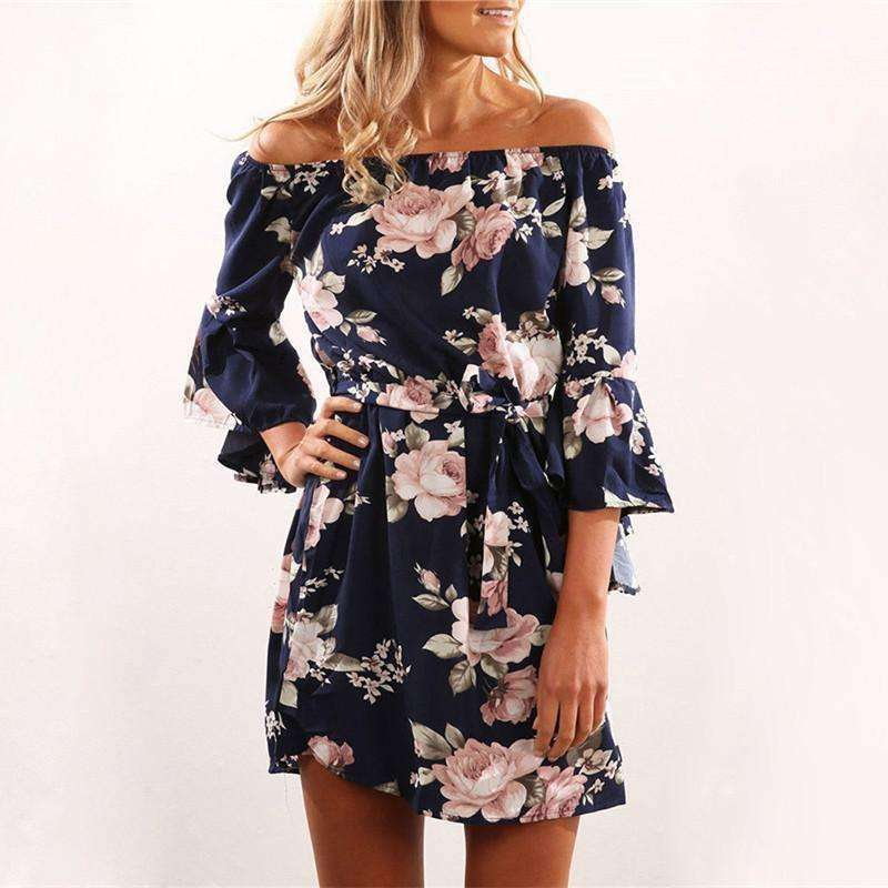 Summer Sexy Off Shoulder Floral Dress - OnlineGearz