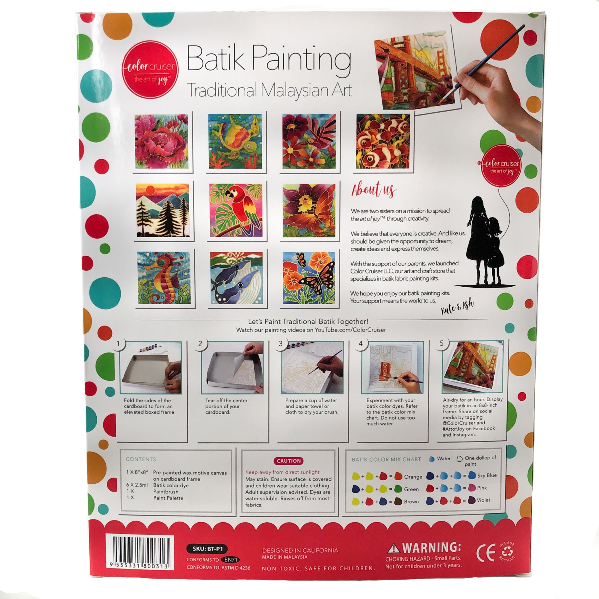 DIY Batik San Francisco Fabric Painting Kit - 8x8 Inch Wax Design, Paint, Brush and Palette