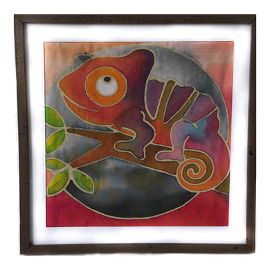 Batik Chameleon Fabric Painting Kit - 8x8 Inch Pre Drawn Wax Design, Paint, Brush and Palette