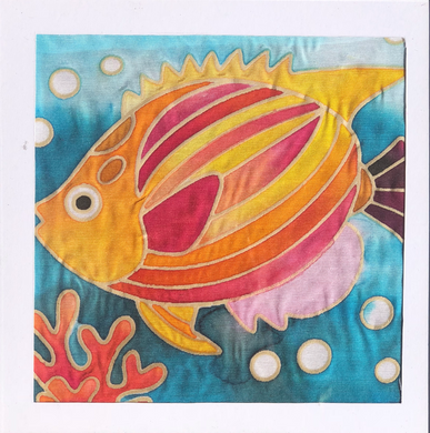 Batik Fish Fabric Painting Kit - 8x8 Inch Pre Drawn Wax Design, Paint, Brush and Palette