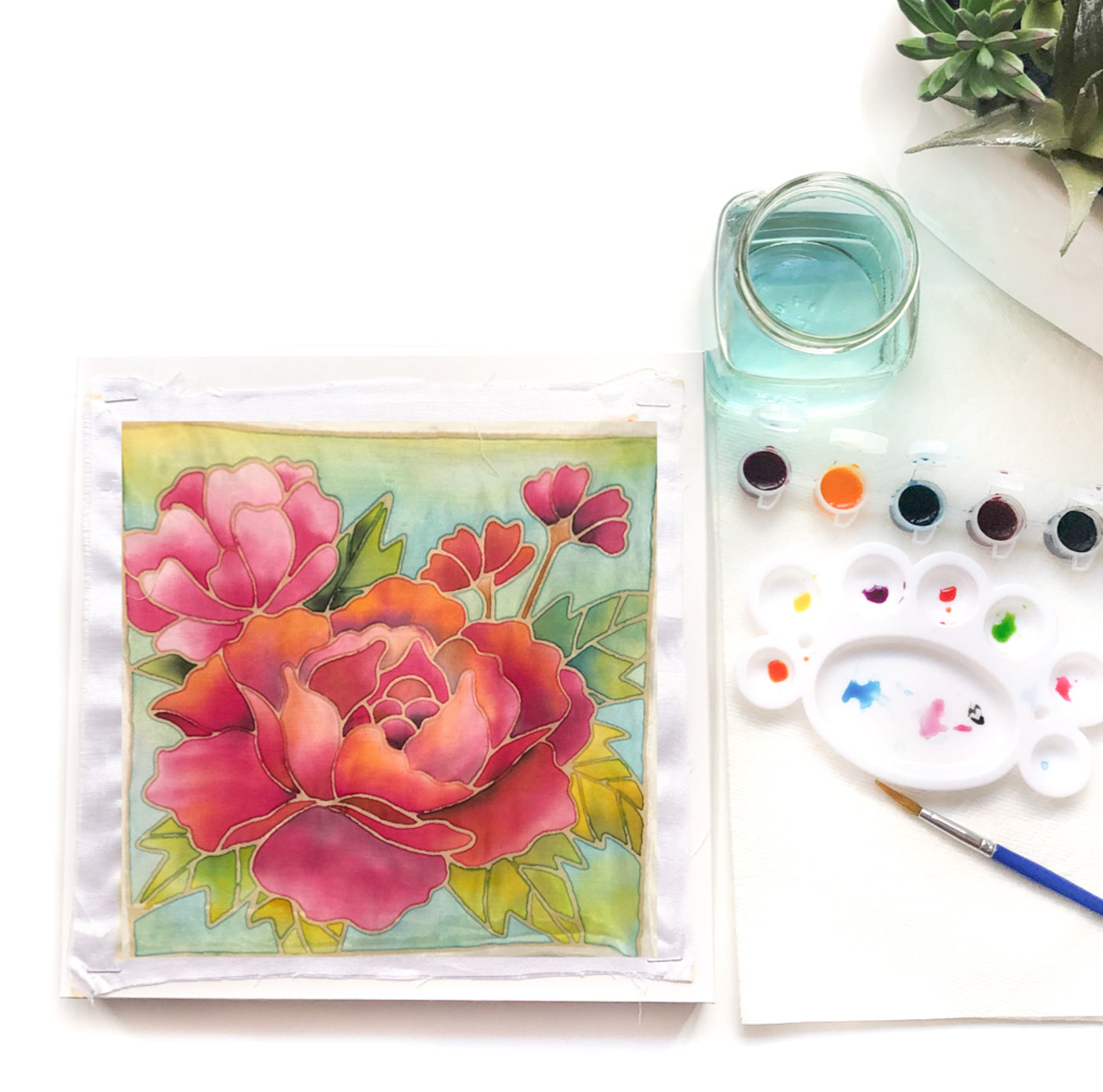 DIY Batik Flower Fabric Painting Kit - 8x8 Inch Pre Drawn Wax Design, Paint, Brush and Palette