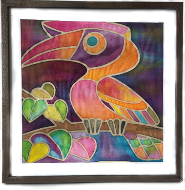 Batik Toucan Fabric Painting Kit - 8x8 Inch Pre Drawn Wax Design, Paint, Brush and Palette