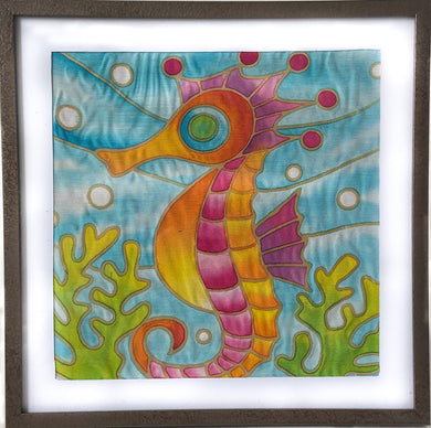 Batik Seahorse Fabric Painting Kit - 8x8 Inch Pre Drawn Wax Design, Paint, Brush and Palette