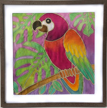 DIY Batik Macaw Fabric Painting Kit - 8x8 Inch Pre Drawn Wax Design, Paint, Brush and Palette