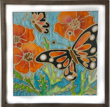 "NEW Batik Butterfly & Poppy Fabric Painting Kit - 8x8"" Pre Drawn Wax Design, Paint, Brush & Palette"