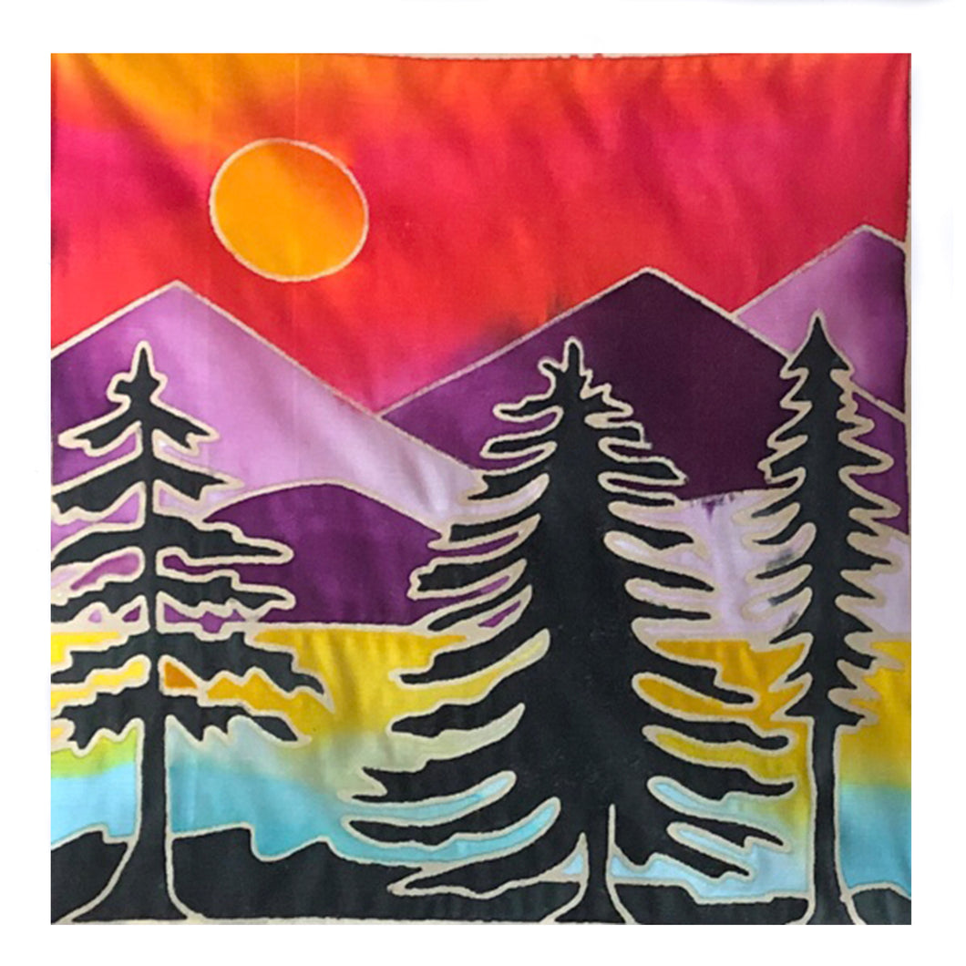DIY Batik Forest Fabric Painting Kit - 8x8 Inch Pre Drawn Wax Design, Paint, Brush and Palette