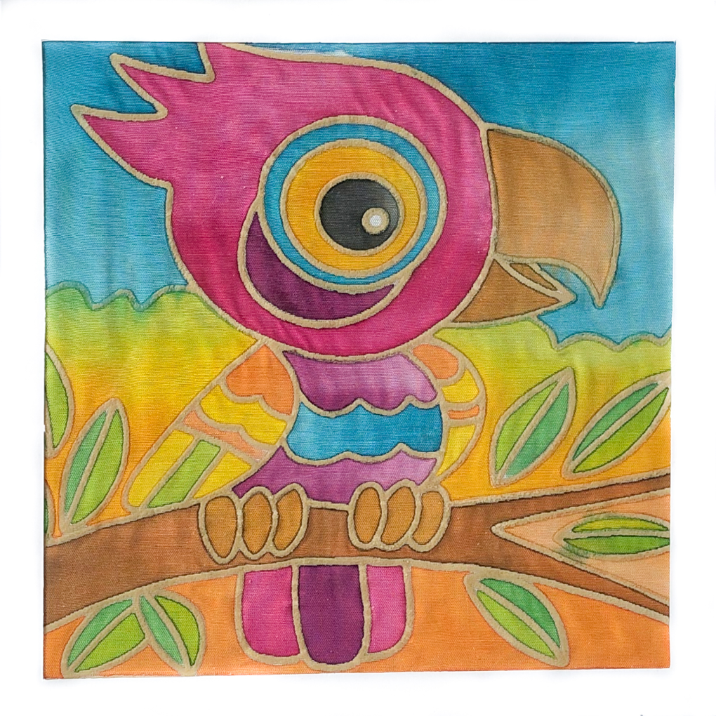 DIY Batik Parrot Fabric Painting Kit - 8x8 Inch Pre Drawn Wax Design, Paint, Brush and Palette