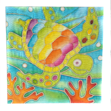 DIY Batik Turtle Fabric Painting Kit - 8x8 Inch Pre Drawn Wax Design, Paint, Brush and Palette