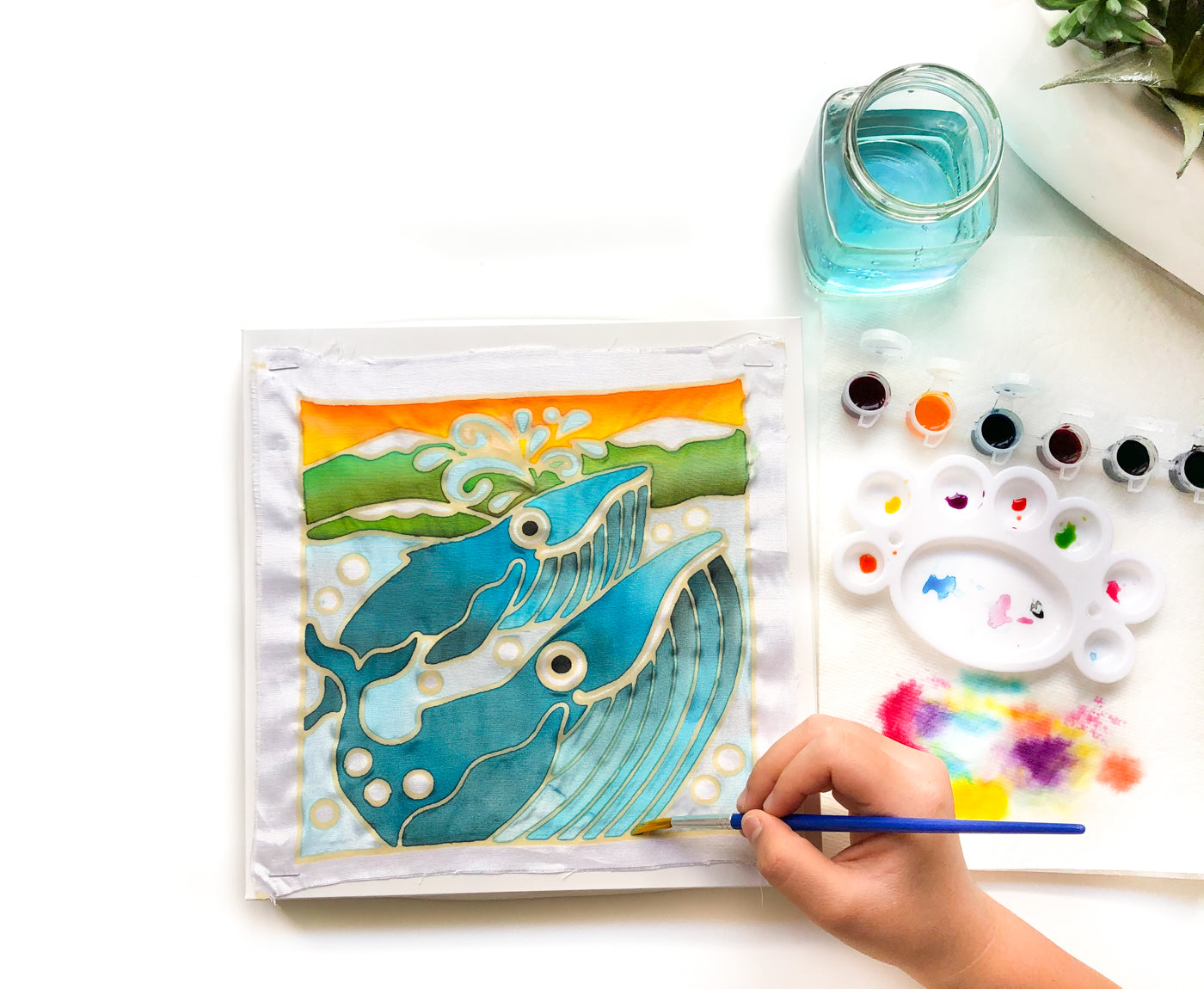 DIY Batik Whale Fabric Painting Kit - 8x8 Inch Pre Drawn Wax Design, Paint, Brush and Palette