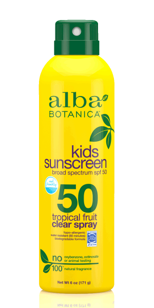 Alba Botanica-Kids Tropical Fruit Clear Sunscreen Spray | SPF50 - The Cruelty Free Beauty Box
