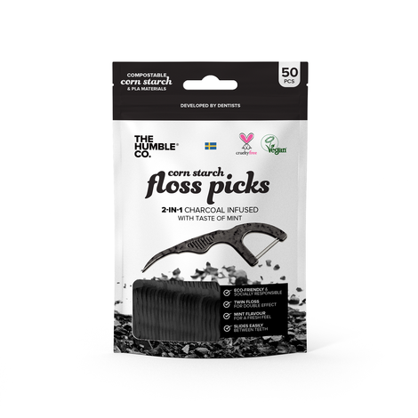 The Humble Co.-Natural Floss Picks | Charcoal | 50 Pack