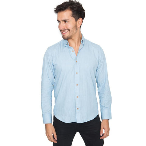 Camisa Troozt Slim Fit de Hombre Denim Celeste 1
