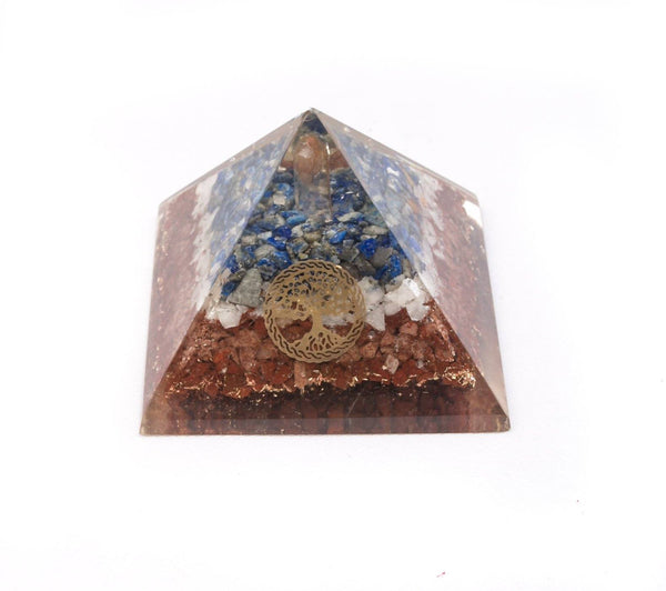 Tree of Life Lapis Lazuli / Carmelian Orgonite Energy Crystal Pyramid - MoodEssentialOils.co.uk