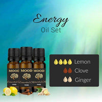 Energy Essential Oil Set Lemon Clove Ginger 10ml Aromatherapy Diffusers - Mood Essential Oils