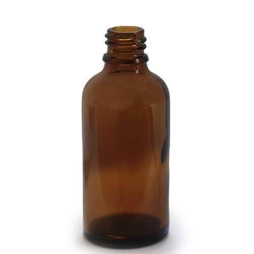 5 X 50ml Dropper Bottle Amber Glass with 18mm Neck With CAPS - Mood Essential Oils