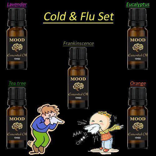 Essential Oils Set Cold and Flu Lavender Eucalyptus Tea Tree Orange Frankincense - Mood Essential Oils
