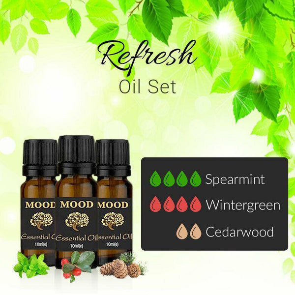 Refresh Essential Oil Set Spearmint Wintergreen Cedarwood 10ml Aromatherapy - Mood Essential Oils