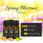 Spring Blossoms Essential Oil Set Orange Ginger Ylang Ylang 10ml Aromatherapy - Mood Essential Oils