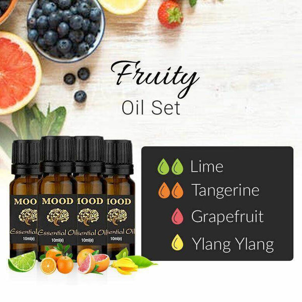 Fruity Essential Oil Set Lime Tangerine Grapefruit Ylang Ylang 10ml Aromatherapy - Mood Essential Oils