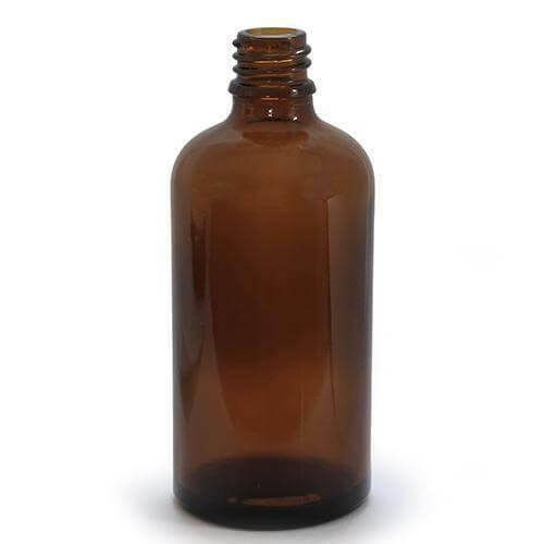 5 X 100ml Dropper Bottle Amber Glass with 18mm Neck With CAPS - Mood Essential Oils