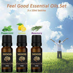 Essential Oils Set Feel Good Pure Peppermint Lemon Rosemary 3 10ml Essential Oil - Mood Essential Oils