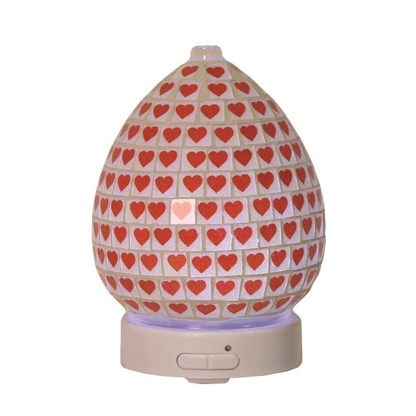 LED Ultrasonic Electric Diffuser - Red Heart - MoodEssentialOils.co.uk