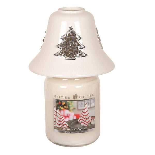 White Ceramic Christmas Tree Candle Jar Shade 11.5cm - MoodEssentialOils.co.uk