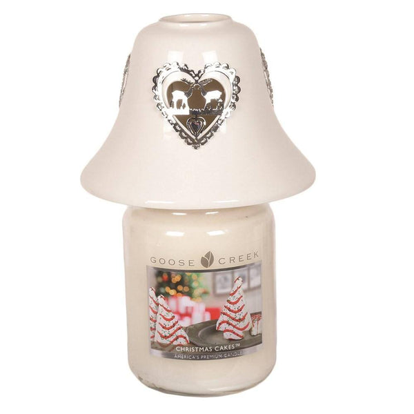 White Ceramic Reindeer Heart Candle Jar Shade 11.5cm - Mood Essential Oils