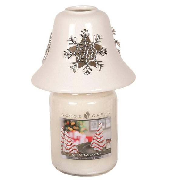 White Ceramic Snowflake Jar Shade 11.5cm - Mood Essential Oils