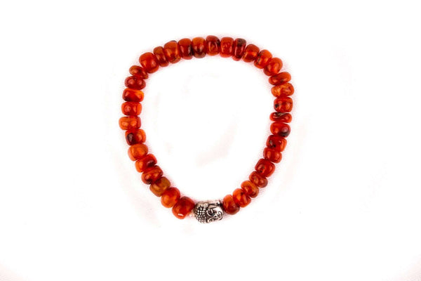 Carnelian Crystal Buddha Bracelet - MoodEssentialOils.co.uk