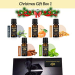 Christmas Essential Oils Natural Pure Essential Oil Scent Gift Box 1 With Ribbon Juniper Berry Mandarin Frankincense Cinnamon Peppermint - Mood Essential Oils