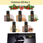Christmas Essential Oils Natural Pure Essential Oil Scent Gift Box 2 With Ribbon Clove Sandalwood Pine Ginger Nutmeg - Mood Essential Oils