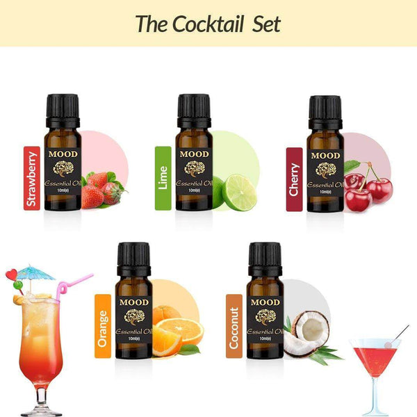 Cocktail Oil Set Strawberry Lime Cherry Orange Coconut - MoodEssentialOils.co.uk