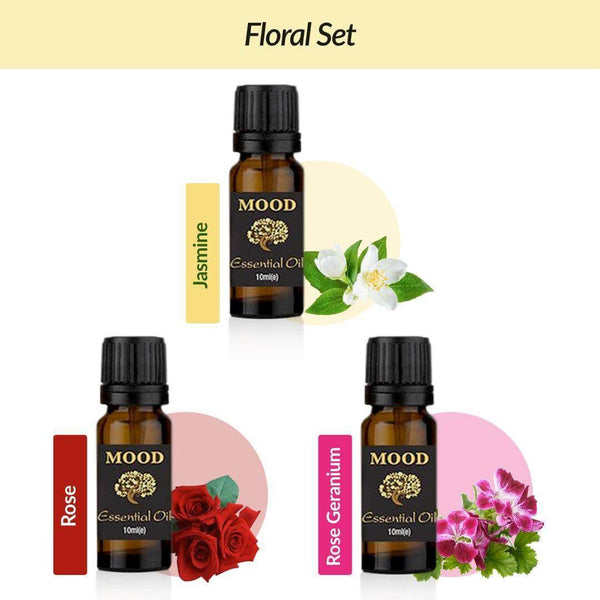Floral Essential Oil Set Jasmine, Rose, Rose Geranium - Mood Essential Oils