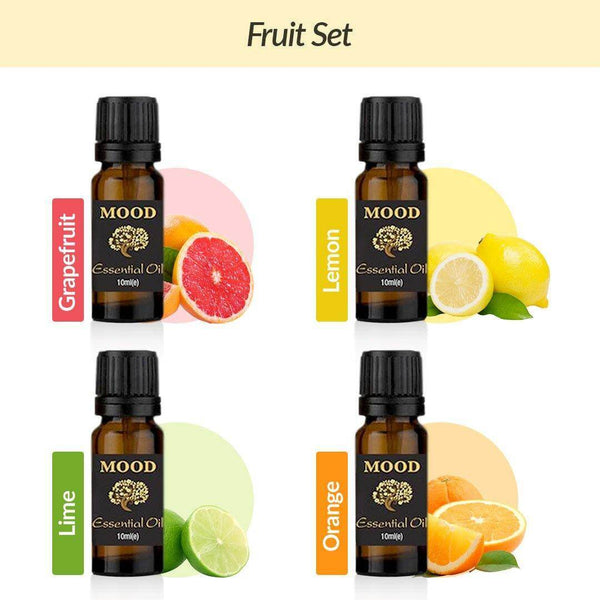 Fruit Essential Oil Set Orange Lemon Lime and Grapefruit - MoodEssentialOils.co.uk