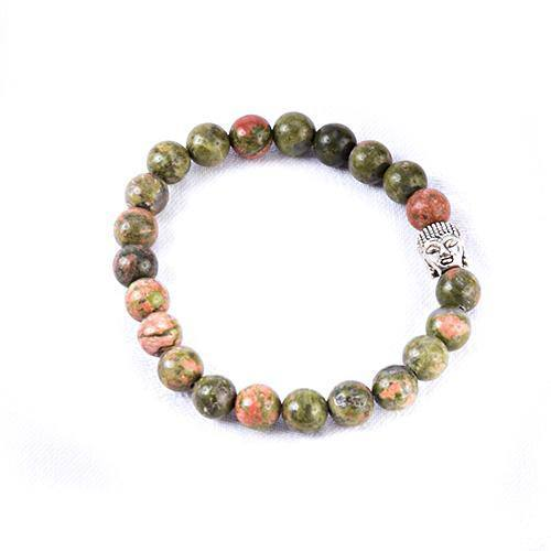 Unakite Crystal Buddha Bracelet - Mood Essential Oils