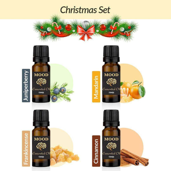 10ml Essential Oil Christmas Set Juniperberry Mandarin Frankincense Cinnamon Natural Aromatherapy Essential Oils - Mood Essential Oils