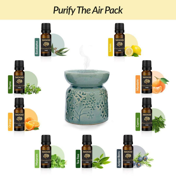 Purify The Air Pack - Ceramic Oil Burner with 9 Essential Oils - Mood Essential Oils