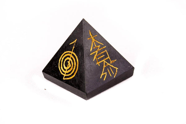 Black Tourmaline Reiki Crystal Pyramid - Mood Essential Oils