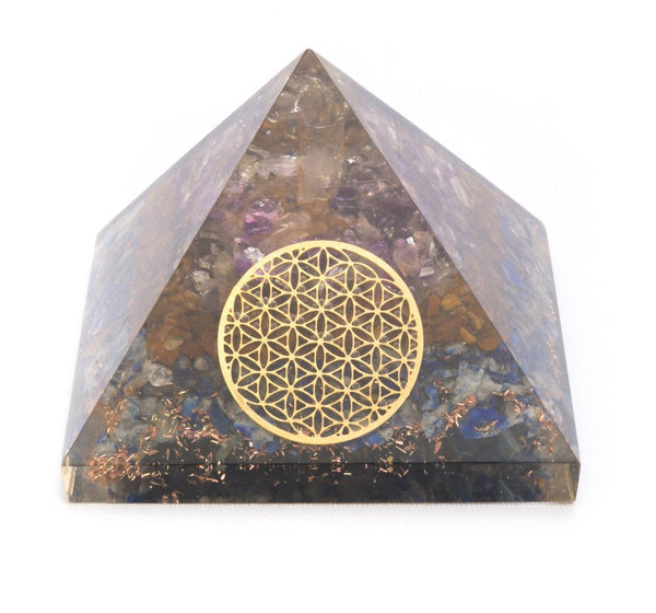 Lapiz Lazuli Orgonite Energy Pyramid - MoodEssentialOils.co.uk